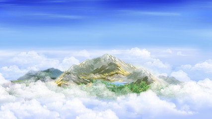 Mountain peak in the clouds
