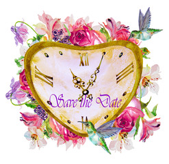 illustration of valentines watches