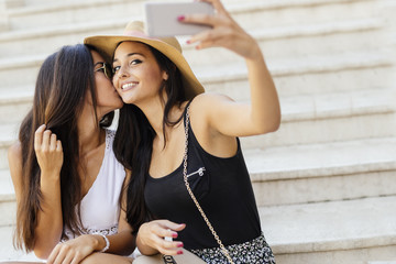Good friends taking a selfie of themselves
