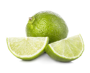 Lime. Whole lime with slices isolated on white background, with clipping path.