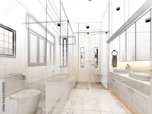 abstract sketch design of interior bathroom photo libre de droits sur la banque d 39 images. Black Bedroom Furniture Sets. Home Design Ideas