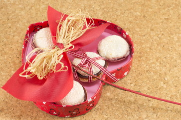 heart shaped box with cookies inside