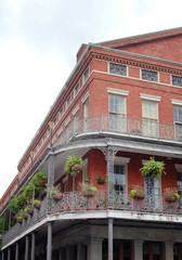 New Orleans houses with balconies and plants