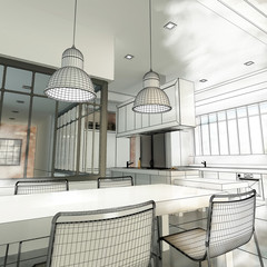 Loft kitchen wireframe