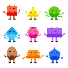 Geometric shapes funny monsters cartoon vector character design for children education games, kindergarten. Flat illustration