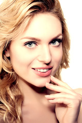 Beauty face woman. Girl healthy model in spa salon. Cream treatm