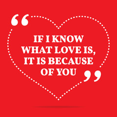 Inspirational love quote. If I know what love is, it is because