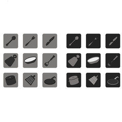 Black and white flat icons. Kitchen. Cutlery