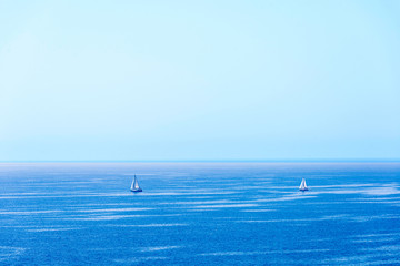 Two sailboats sailing, Catalonia, Spain