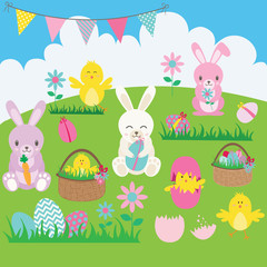 Easter Bunny set.Basket,Flower,Rabbit,Bunting,Easter Egg,Easter Chicks.