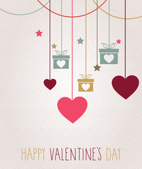 Valentines day card. Hanging colorful hearts. Vector illustration.