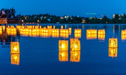 lantern floating on green lake park for memorial of Hiroshima,Wa,usa.