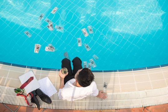 Splashing money concept