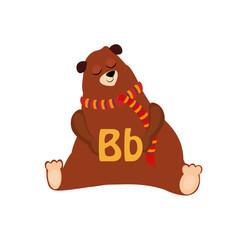 Bear. Funny Alphabet, Animal Vector Illustration