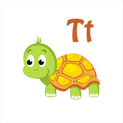 Turtle. Funny Alphabet, Animal Vector Illustration