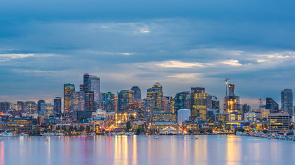 scenic view of Seattle cityscape in the night time with reflection in the water,Washington,usa.
