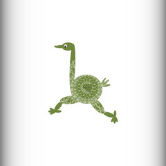 Animals of Africa. Ostrich. Vector drawing. The stylized image of an ostrich.