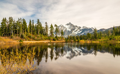 scenic view of mt Shuksan when sunset with reflection in the water.
