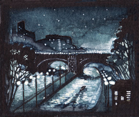 Stunning vintage night cityscape watercolor painting.