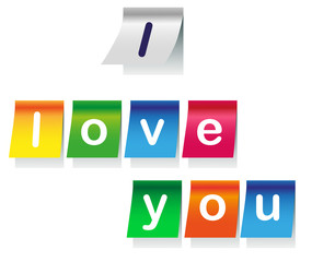 I love you on stickers