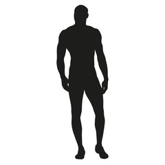 Muscular man stands, rippling athlete, sprinter, hero. Vector si