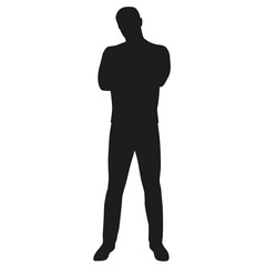 Silhouette of man with folded arms and legs apart. Vector silhou