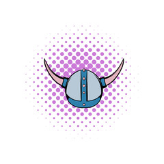 Viking helmet comics icon