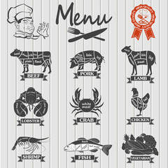 Set of butcher shop labels and design elementsn