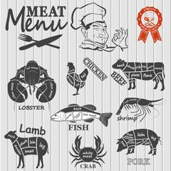 Set of butcher shop labels and design elementsn
