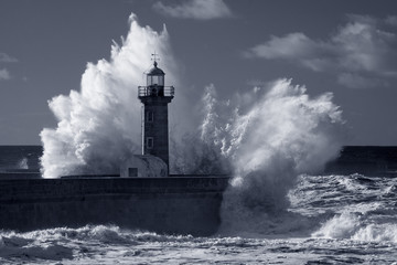 Infrared old lighthouse under heavy storm Wall mural