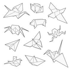 Origami vector set, Crane, bird, boat, paper plane. Un-expanded strokes