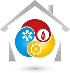 Haus und Drei Tropfen, Sonne, Schnee, Flame