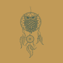 Dream-catcher outline vector illustration with owl