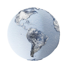 Frozen Earth Planet Isolated on white background. Global Ice Age Concept. Elements of this image furnished by NASA.