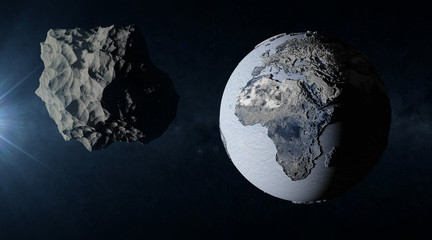 Big Asteroid Closing to the Frozen Earth Planet. Apocalypse Concept. Elements of this image furnished by NASA