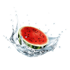 Sliced Watermelon Falling into Water Splash isolated on white background