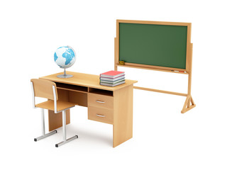 Education Concept. School Desk with School Attributes: Desk Globe, Graduation Cap, Diploma, Books and Chalkboard isolated on white background.