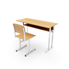Wooden School Desk and Chair isolated on a white background. 3D Rendering