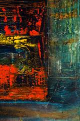 Zelfklevend Fotobehang Graffiti Abstract painted canvas. Oil paints on a palette.