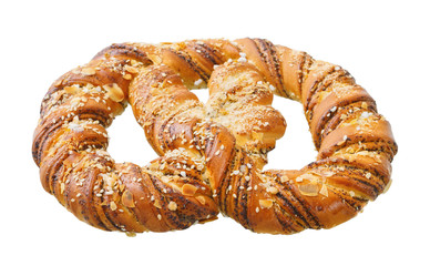 .Traditional Bavarian pretzel on a white background.