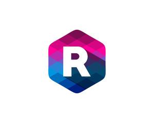 R Letter Color Pixel Shadow Logo Design Element