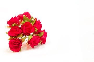 bouquet of red roses textile