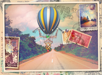 Vintage postcard with avenue,hot air balloon and old stamps