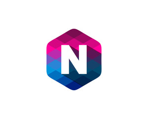 N Letter Color Pixel Shadow Logo Design Element