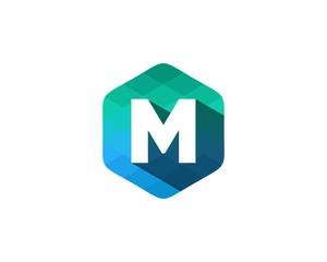 M Letter Color Pixel Shadow Logo Design Element