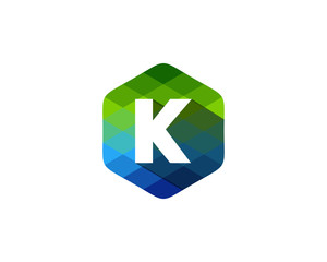 K Letter Color Pixel Shadow Logo Design Element