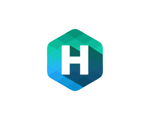 H Letter Color Pixel Shadow Logo Design Element