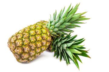 Fresh pineapple fruit on a white background.