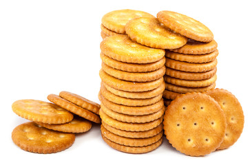 Stack crackers on white background.