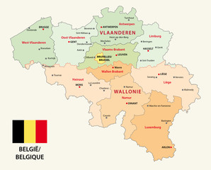 belgium administrative map with flag